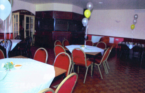 Function room decorated for a party.