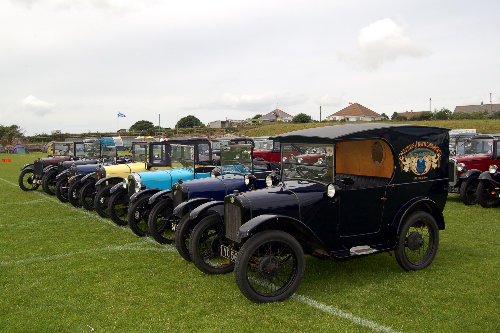 A line-up of Austin Sevens on the football pitch.
