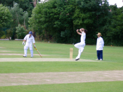Jimmy Anderson bowling at Highgate